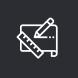 pictogramme d'un plan avec un crayon et une règle