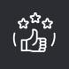 pictogramme avec une main le pouce levé avec 3 étoiles